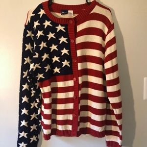 Vintage Cherokee red white and blue flag cardigan